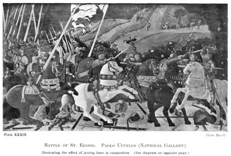 Plate XXXIX. BATTLE OF ST. EGIDIO. PAOLO UCCELLO (NATIONAL GALLERY) Illustrating the effect of jarring lines in composition. (See diagram on opposite page.) Photo Morelli