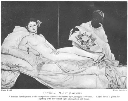 Plate XLVI. OLYMPIA. MANET (Louvre) A further development of the composition formula illustrated by Correggio's