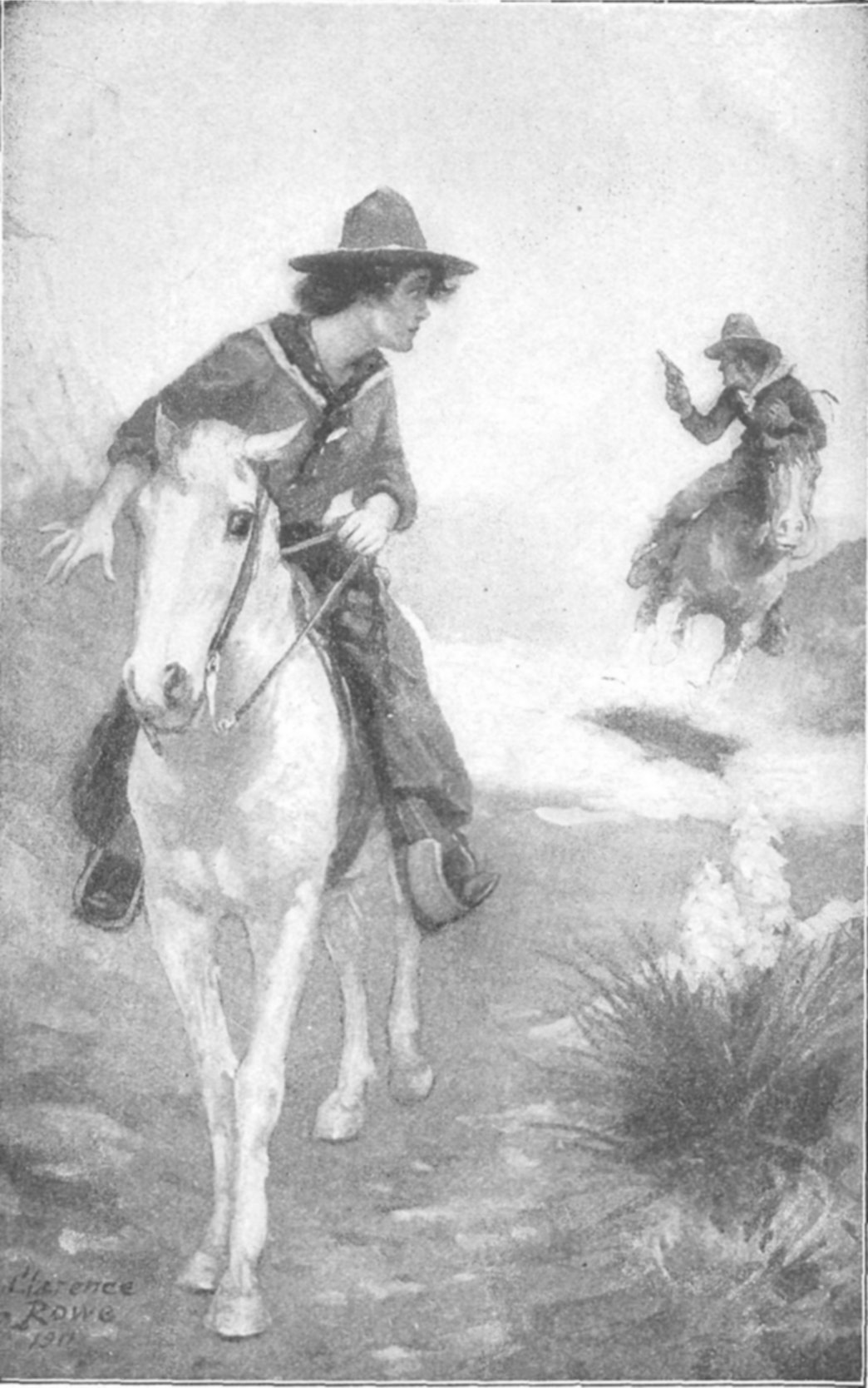 c46fb15a5e3 THE RIDER SLEWED IN THE SADDLE WITH HIS WHOLE ATTENTION UPON POSSIBLE  PURSUIT. Frontispiece.