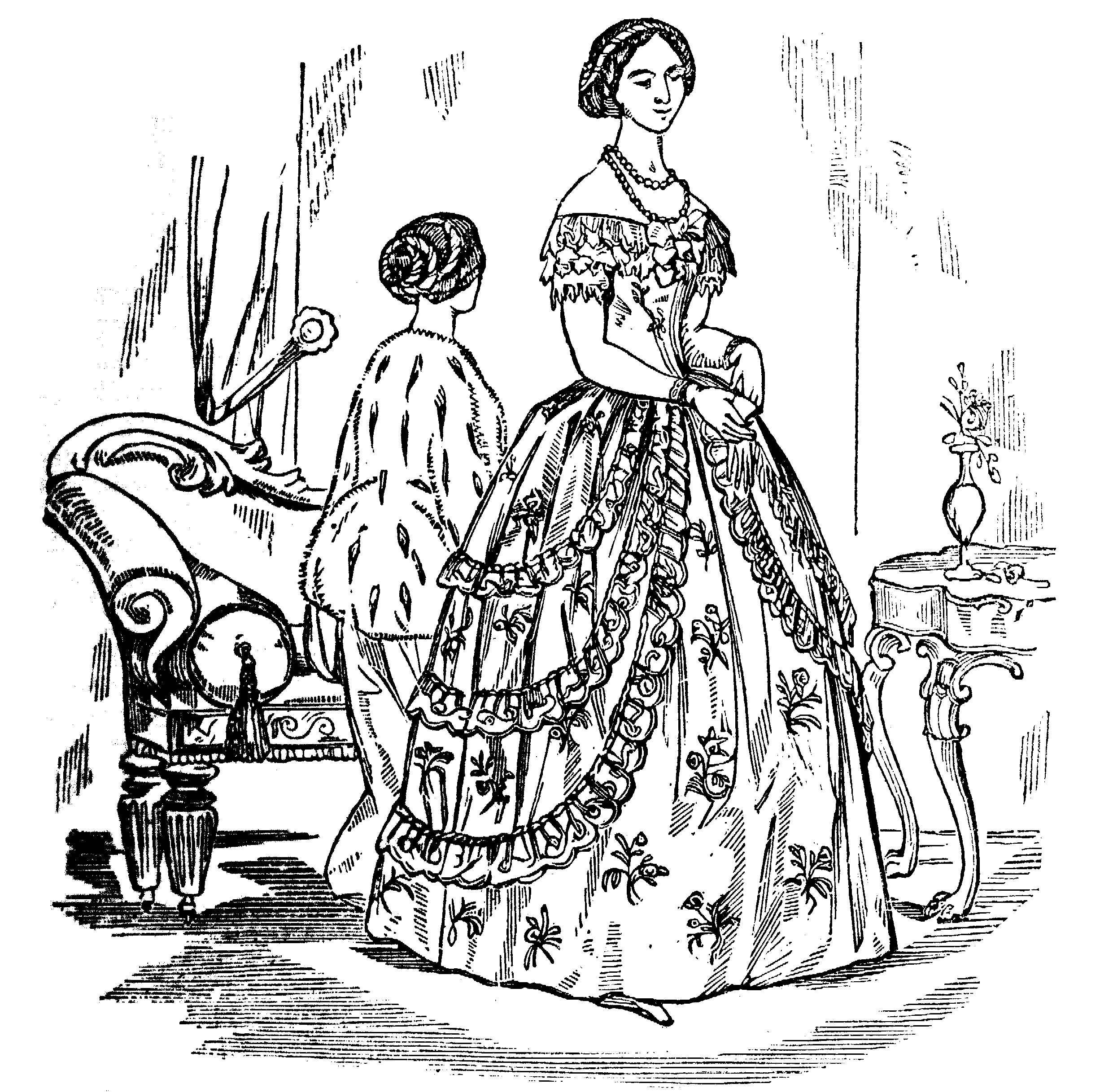 Two Fashionable Ladies One Seated