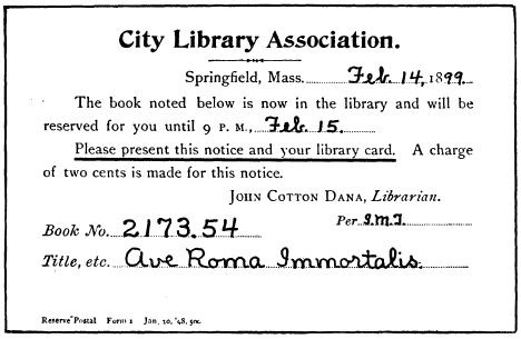 The project gutenberg ebook of a library primer by john cotton dana no 1 postal notice fandeluxe Gallery