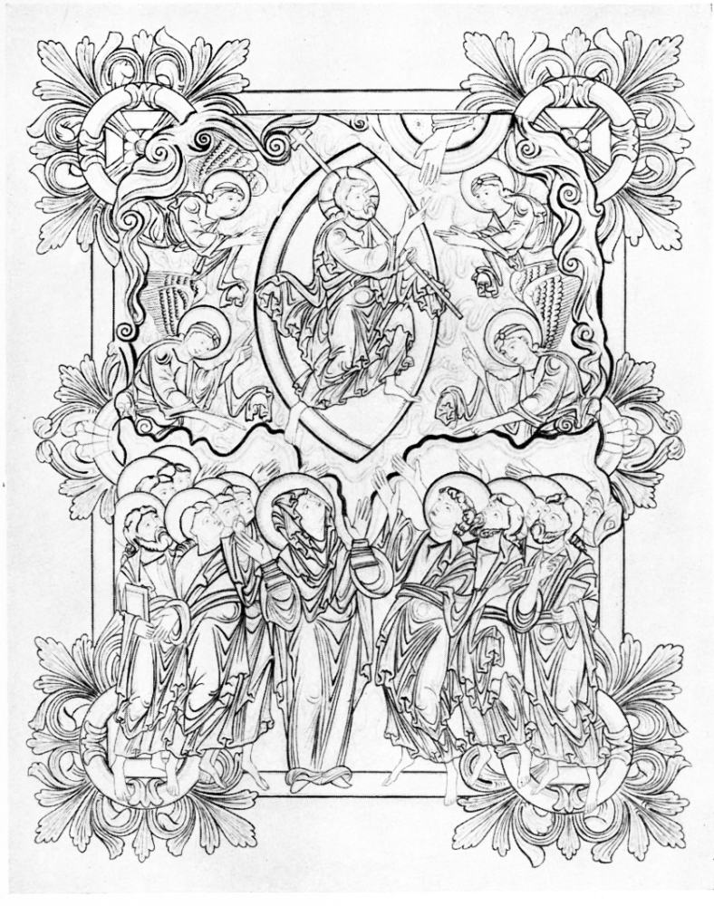 PLATE VI MINIATURE OF THE ASCENSION IN BENEDICTIONAL ETHELWOLD