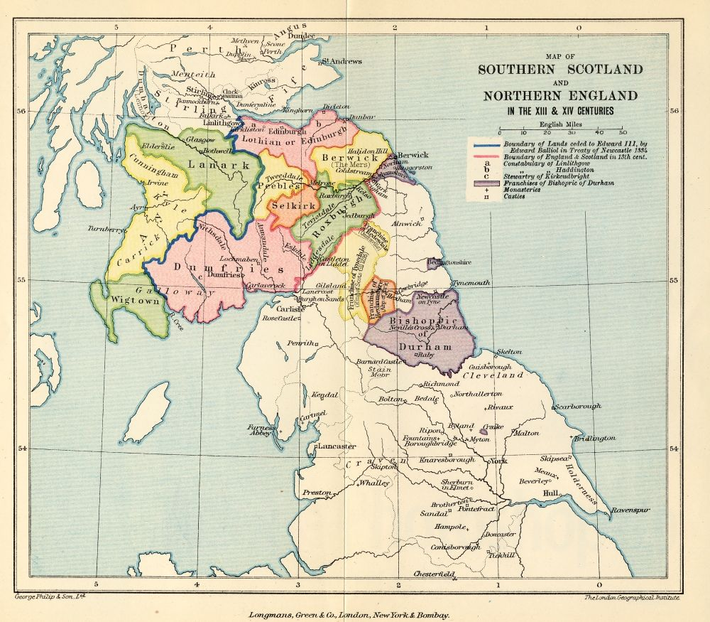 The project gutenberg ebook of the history of england by tf tout map of southern scotland and northern england in the xiiith and xivth centuries fandeluxe Image collections