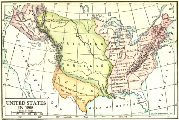 The Project Gutenberg EBook Of History Of The United States By - Map of us in 1805