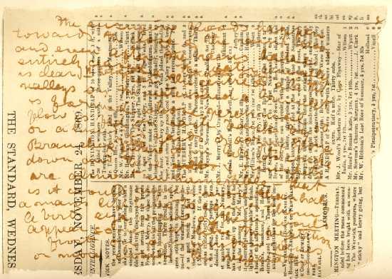 Ukážka z Livingstonovho denníka (keď sa papier a atrament už minuli...)