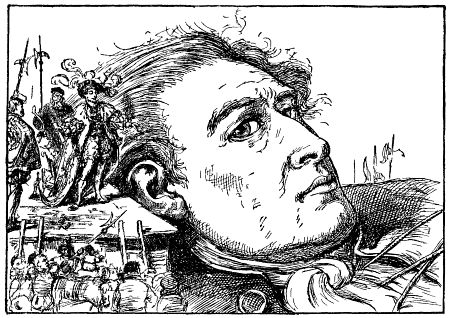 Gravure originale des Voyages de Gulliver représentant l'empereur des liliputiens à côté de la tête de Gullivers enchainé