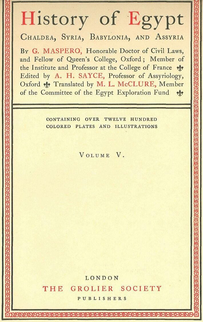 History of egypt by maspero volume 5 titlepage biocorpaavc