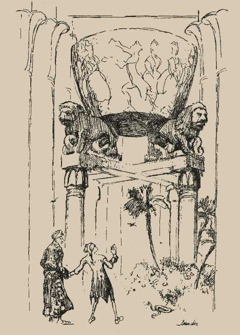 Der Archivarius, Anselmus und Serpentina unter dem goldenen Topf