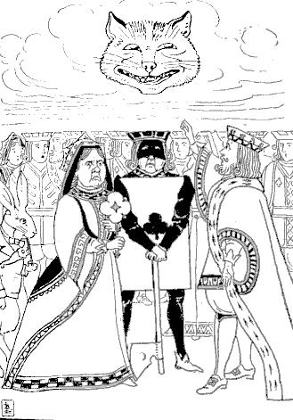 Ilustrajxo: LA GEREGXOJ ARGUMENTAS KUN LA EKZEKUTISTO PRI EKZEKUTO DE LA SENKORPA KATKAPO.