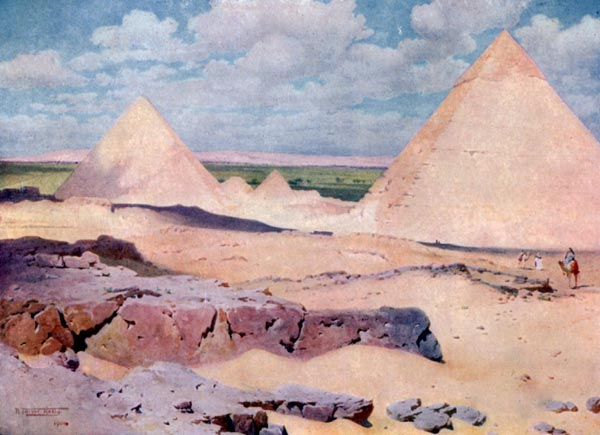 THE PYRAMIDS OF GHIZEH FROM THE DESERT.
