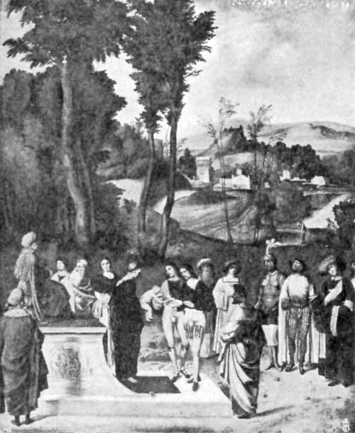 FIG. 47.—GIORGIONE(?). ORDEAL OF MOSES. UFFIZI.