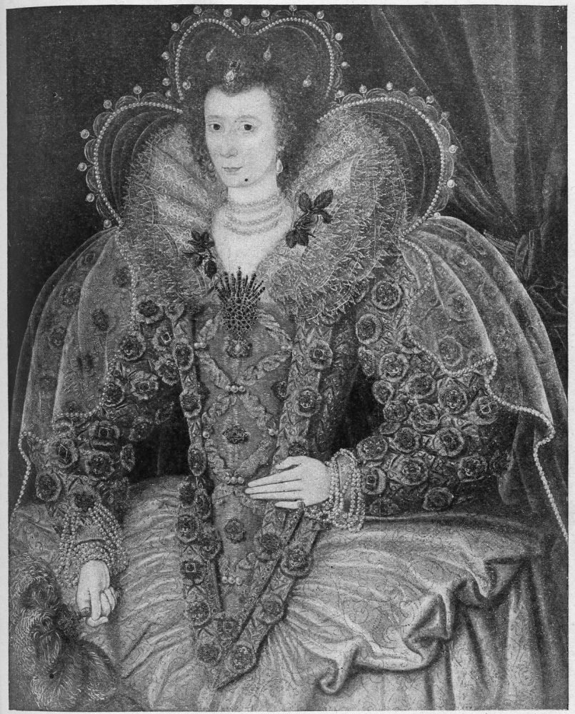Portrait Showing Pointed Head-dressQueen Elizabeth 1 Black And White