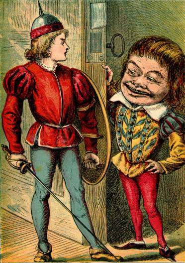 Illustration: Strong-arm and Boy with Large Head.