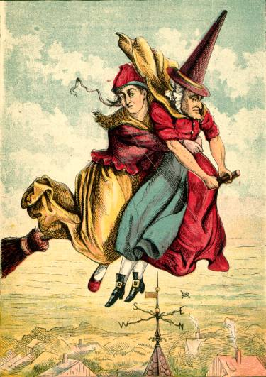 Illustration: Witch and Lady on broom.