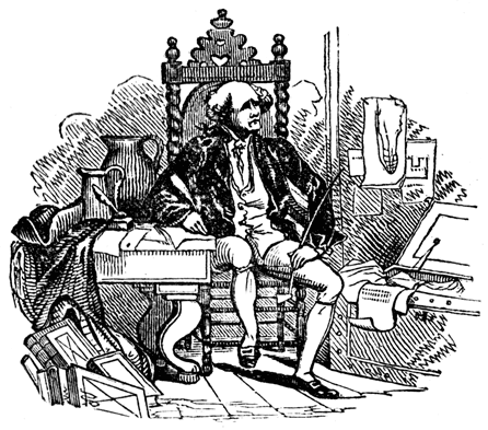 65c5fbd982 An engraving of an old fellow sitting sideways to a writing desk