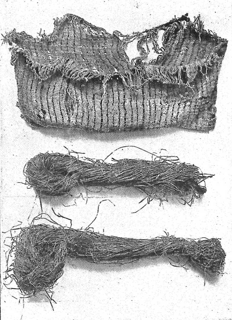 FRAYED BAG AND SKEINS OF HEMP FIBER.
