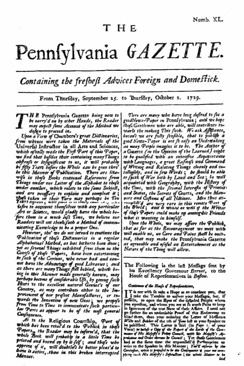 the project ebook of autobiography of benjamin franklin  the pennsylvania gazette page 1
