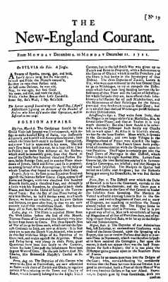 First page of The New England Courant of Dec. 4-11, 1721.