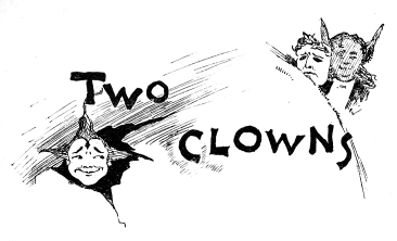 A smiling clown-face to the left, a sad one to the right, with a devilish looking man behind.