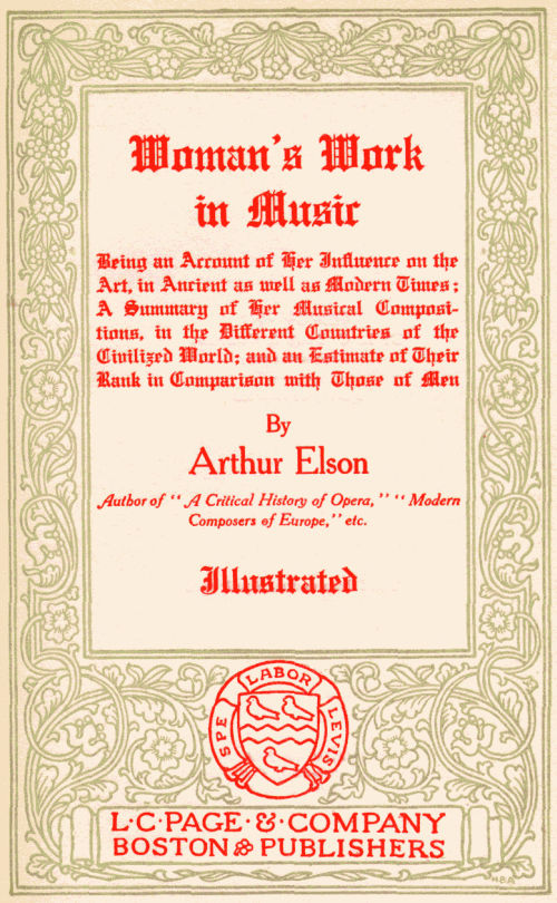 The project gutenberg ebook of womans work in music by arthur elson of this project gutenberg ebook womans work in music produced by roger frank and the online distributed proofreading team at httppgdp fandeluxe PDF