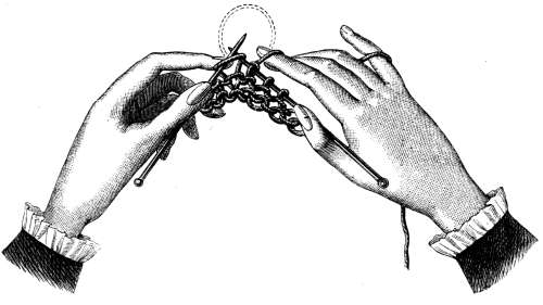 FIG. 341. POSITION OF THE HANDS IN KNITTING.