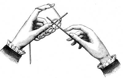 FIG. 345. KNITTING ON STITCHES.