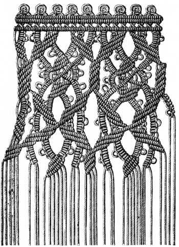 Шторы макраме: техника плетения узелками.