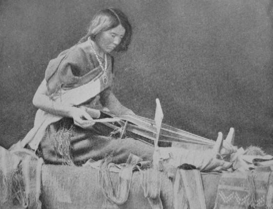 ZUNI WOMAN WEAVING CEREMONIAL BELT