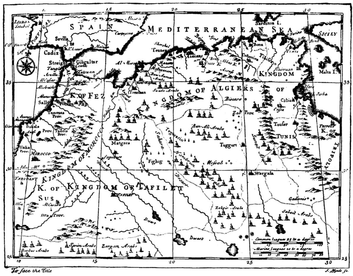 Map Showing The Kingdoms Of Fez Morocco Sus Tafilet Algiers And Tunis