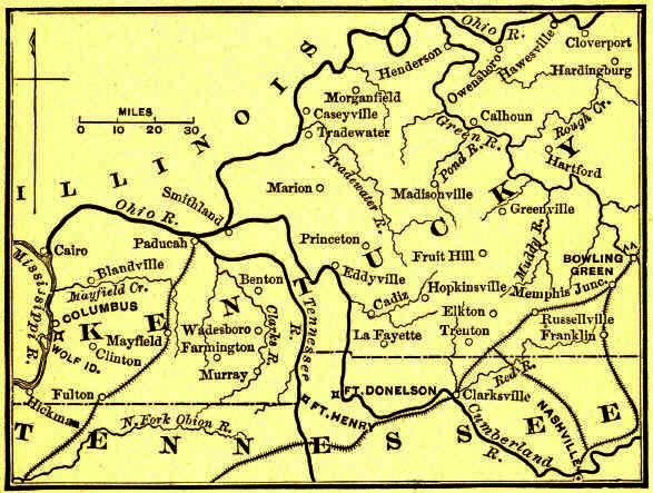 the confederate line from columbus to bowling green