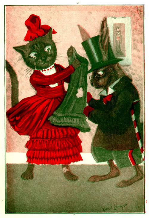 Uncle Wiggily looks at a hole in a skirt held up by a sad cat.