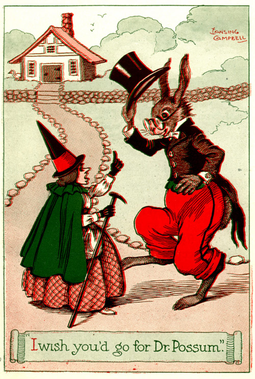 Uncle Wiggily tips his hat to Mother Hubbard.