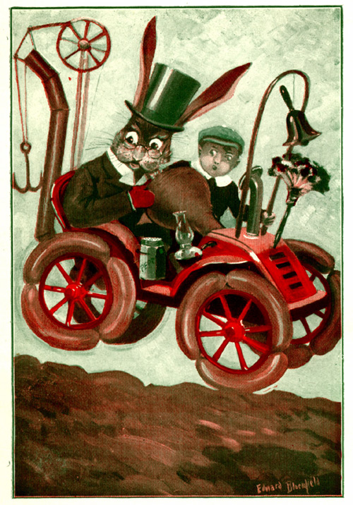 Uncle Wiggily and a boy are in a car.