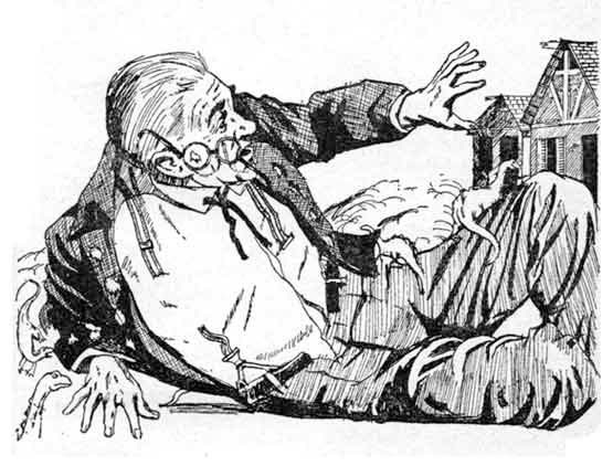 An elderly man, lying on the ground, his glasses askew, with small dinosaurs crawling on him.