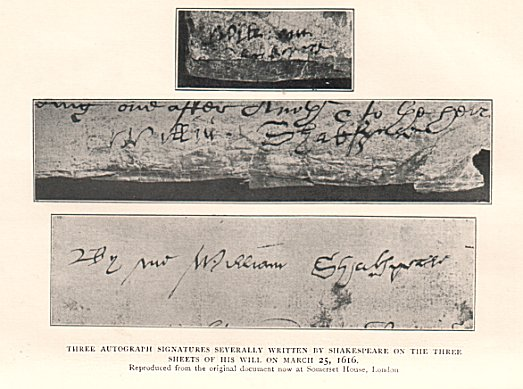 A life of william shakespeare signatures from each sheet of the will spiritdancerdesigns Images