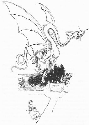 """'""""The dragon flew away across the garden."""" See page 8.' from the web at 'http://www.gutenberg.org/files/23661/23661-h/images/gs03.jpg'"""