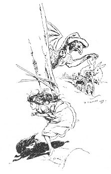 """'""""The dragon ran after her."""" See page 34.' from the web at 'http://www.gutenberg.org/files/23661/23661-h/images/gs07.jpg'"""