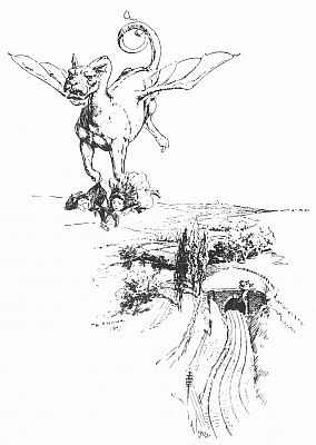 """'""""He rose into the air, rattling like a third-class carriage."""" See page 50.' from the web at 'http://www.gutenberg.org/files/23661/23661-h/images/gs10.jpg'"""