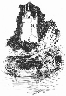 ship sinking into a whirlpool near the Lone Tower