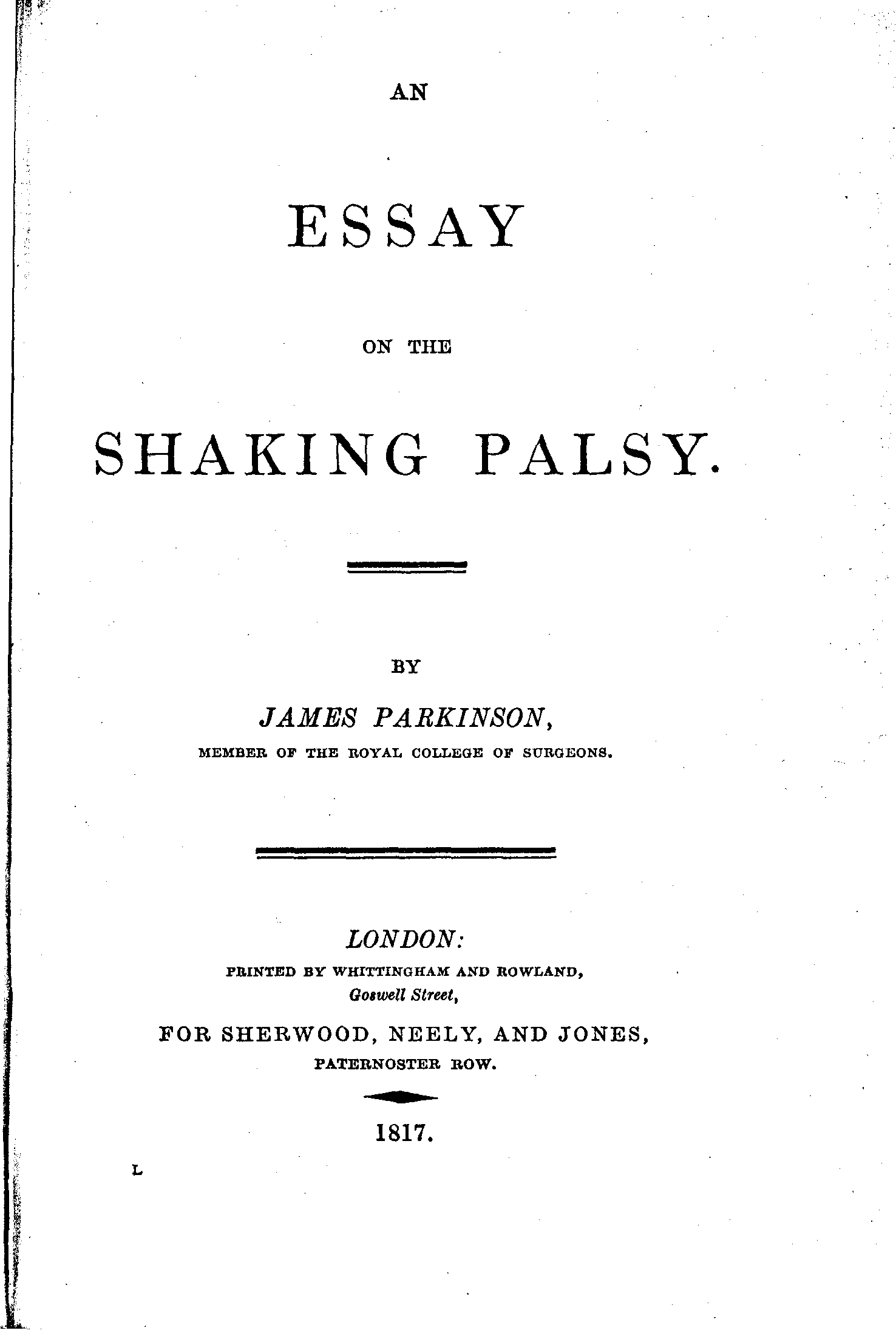 An essay on the shaking palsy james parkinson