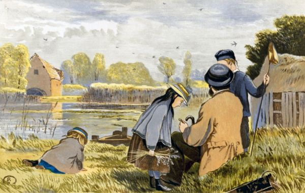 Image result for paintings and artwork of children dipping for stickleback with nets