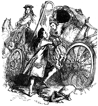 A man helps a woman from a wrecked carriage.