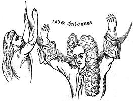 Law holds 'Laudo Britannos' on his shoulders.