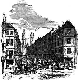 A crowded street scene.