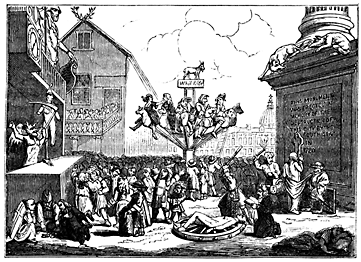 A busy scene where people are riding a merry-go-round of donkeys.
