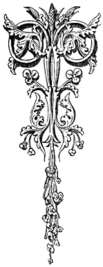 An ornate letter T.