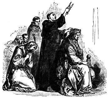 A monk cuts a king's hair.