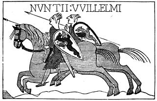 Two men on horseback.