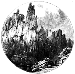 Vignette of a moutain range.