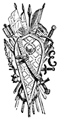 A letter E, decorated with a shield, swords and lances.